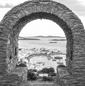 Mykonos Through The Arch BW watermark copy